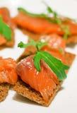 Crisps with salmon Royalty Free Stock Photo