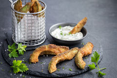 Crispy avocado fries with garlic yogurt sause Royalty Free Stock Photography