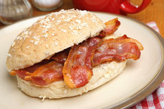 Crispy Bacon Roll or Bap Stock Photo