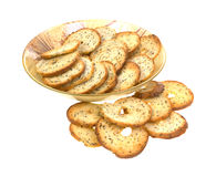 Crispy Bagel Slices and Full Dish Royalty Free Stock Image