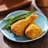 Crispy baked chicken with green beans Stock Image