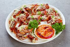 Crispy baked parmesan chicken wings, close-up stock image