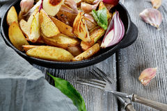 Crispy baked potatoes in a pan Stock Photography