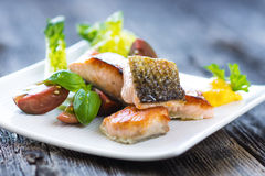 Crispy baked salmon with delicious vegetable Stock Image