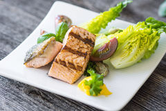 Crispy baked salmon with delicious vegetable Royalty Free Stock Photography