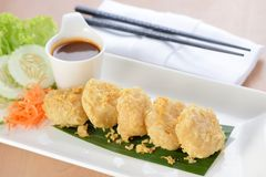 Crispy Beancurd Cube. With dip sauce Stock Photography