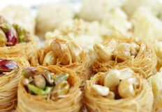 Crispy birds nest baklava focus in the middle Stock Photography
