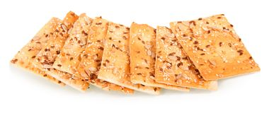Crispy Biscuits With Sunflower Seeds, Flax And Sesame Seeds Isolated On White. Stock Photo