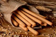 Crispy bread sticks on the table Royalty Free Stock Photos