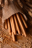 Crispy bread sticks on the table Royalty Free Stock Image
