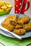 Crispy breaded pieczarkowy schnitzel zdjęcie royalty free