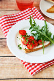 Crispy bruschetta on a plate Stock Images