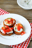 Crispy bruschetta with vegetables Royalty Free Stock Image