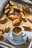 Crispy cantucci with coffee Stock Images