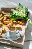 Crispy cantucci with espresso Stock Photography