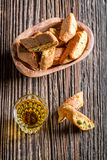 Crispy cantuccini with wine Royalty Free Stock Image