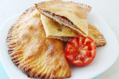 Crispy cheburek with pork Stock Image