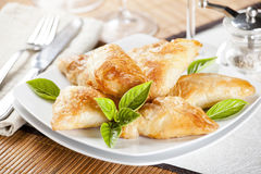 Crispy Cheese Rolls And Basil Stock Image