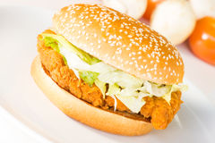 Crispy chicken burger Stock Image