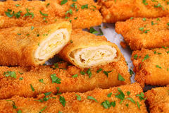Crispy Chicken cheese breaded roll-ups, close-up Stock Images