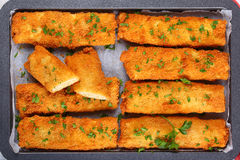 Crispy Chicken cheese breaded tortilla roll-ups Stock Photo