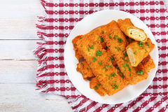 Crispy Chicken cheese breaded tortilla roll-ups Stock Image