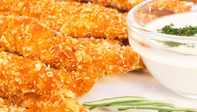 Crispy chicken fingers and dip Royalty Free Stock Photos