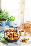 Crispy chicken legs with barbecue sauce Royalty Free Stock Image