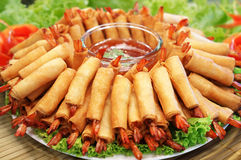 Crispy Chinese Traditional Spring rolls food. Crispy Chinese Traditional Shrimp Spring rolls food royalty free stock images