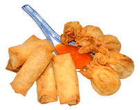 Crispy Chinese Wontons And Spring Rolls Stock Photo