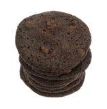 Crispy chocolate chip brownie cookies stack Stock Photo