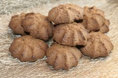 Chocolate shortbread cookie. delicious shortbread cookies with cocoa. Crispy chocolate shortbread cookie. delicious shortbread cookies with cocoa Royalty Free Stock Photos