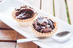 Crispy chocolate tarts on white plate Royalty Free Stock Image