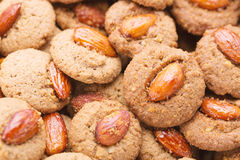 Crispy cookies with almond as a background close up. Selective focus Royalty Free Stock Photo