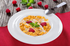 Crispy corn flakes with raspberry and milk, close-up. Crispy corn flakes with raspberry and milk in plate decorated with mint on wooden worktop, traditional and Royalty Free Stock Photography