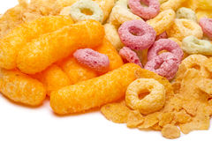 Crispy cornflakes, sticks  and rings Stock Images