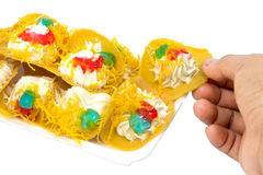 Crispy crepes in Thai style pancakes. Thai style crispy pancake ,Coconut Pancake stock images