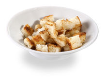 Crispy croutons. On white background with shadow stock photo