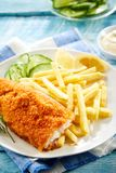 Crispy deep fried fillet of cod with breadcrumbs Royalty Free Stock Photo