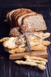 Different bread in studio Royalty Free Stock Photo