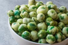 Crispy Dry Spiced Green Wasabi Peas as an Appetizer. stock image