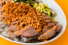 Crispy duck, glass noodle and nut. Crispy duck with glass noodle sprinkled with roasted nut, herb leaf on beige plate on orange bakground royalty free stock image