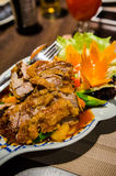 Crispy duck with pineapple and vegetables Royalty Free Stock Photos