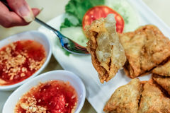 Crispy dumpling with shrimp pawn inside. With side dishes Royalty Free Stock Photography