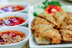 Crispy dumpling with shrimp pawn inside with side dishes Royalty Free Stock Images