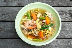 Crispy egg noodle seafood. Stock Photography