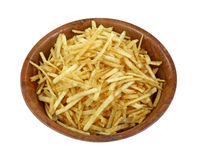 Crispy Fine Potato Sticks Wood Bowl royalty free stock images