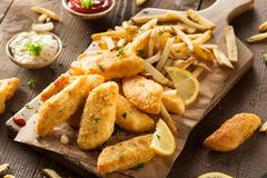 Crispy Fish and Chips Royalty Free Stock Photos