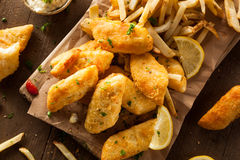 Crispy Fish and Chips Stock Image