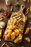 Crispy Fish and Chips Stock Images